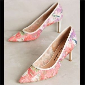 Anthro Bettye Muller Astor Floral Mesh Pumps Sheer
